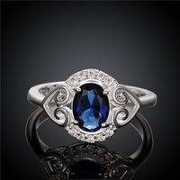 Wholesale 925 Rings Blue Heart - Women's love Full Diamond fashion Heart-shaped ring 925 silver Ring STPR007-B brand new blue gemstone sterling silver finger rings