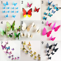 Wholesale Diy Art Toys - 3D Butterfly wall stickers 10 color Free DHL butterflies decors For Home Fridage Decoration art diy decoration sticker baby toys B001