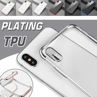 Barato Slim Caso À Prova De Choque Para Iphone-3 em 1 Plating Case Ultra Thin Slim Electroplate Gilded Soft TPU Clear Transparente Shockproof Cover Skin para iPhone X 8 Plus 7 6 6S 5 SE 5S