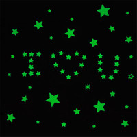 Wholesale Home Deco Stickers - PACK 100PCS 3D GLOW IN THE DARK STAR LUMINOUS DECAL STICKER BEDROOM ROOM HOME WALL ROOF CEILING ART DECO FLUORESCENT MIXED COLOR GREEN