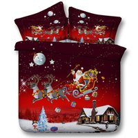 Wholesale King Size Santa Claus Bedding - Christmas Bedding set Comforter Comforters duvet cover bed sheet sheets Cal King queen size twin Deer Tree Santa Claus Gift 5PCS bedsheet