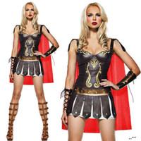 Wholesale roman women costumes online - New Leather ancient Greek super walkland costume mascot Spanish gladiator suit sexy halloween costumes HS121
