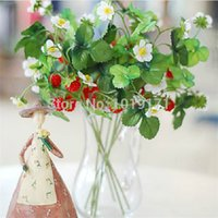 Wholesale Strawberry Furniture - Wedding Home Office Furniture table centerpieces Decor 6set Fake Display Artificial Strawberry Fruit Flower Plant Red FL1673