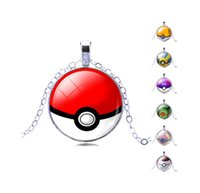 Wholesale Vintage Glass Charms Pendants - 2016 New Poke Halder Necklace Vintage Retro Pocket Monster Time Gemstone Ball Pendant Necklace Women Jewelry Gifts XMas