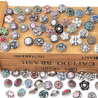 Wholesale 100Pcs Random watches women charm bracelet bangle Metal mm snap button jewelry bohemian of crystal button for men