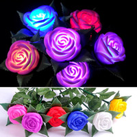 Wholesale led valentines roses - LED Rose Flower Originality Garden Decorate Luminous Lamp Colourful Valentine Day Gift Eco Friendly Hot Sale 1 78jh C R
