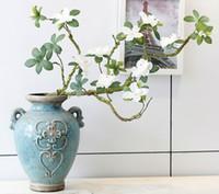 Wholesale Artificial Azaleas - 90cm 10 Flowers Artificial Azaleas With Branch White Cuckoos Long Stem Arbitrary Bending New Silk Flower Home Decoration