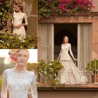 Wholesale naturals themes - 3 4 Long Sleeve Pastoral Theme Romantic Wedding Dresses 2017 with Lace Appliques Floral A Line Tulle Bohemian Bridal Gowns Custom Made