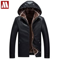 Wholesale Leather Sleeved Jackets Men - Brand motorcycle leather jackets for men thick leather jacket Men's Fur Hooded Winter leather Coats jaqueta de couro masculina