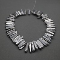 Wholesale Gemstone Briolettes - Titanium Silver Polished Smooth Crystal Quartz Pendants, Raw Healing Gemstone Spikes Top Drilled Briolettes Rock, Women Necklace Beads