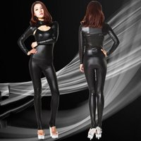 Wholesale Club Body Suits - Wholesale-2PCS set Sexy 100D Faux Latex Sexy Bodysuit Catsuit Thong Body Suits For Women Club Wear Bodies High Cut Night Dance Wear