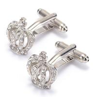 Wholesale Mens White Wedding Shirts - Free shipping 2016 New Mens Gold silver blue Crown Round Cufflinks Cuff Links Shirt Decor Wedding 980015