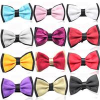 Wholesale Wholesale Women Bowties - 25 colors bowties men's ties women bow tie pure color bowtie 100pcs lot men wedding business hotel waiter bow tie F348