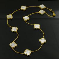fil tissé chinois achat en gros de-Top qualité 316L acier titane long 90cm collier pendentif fleur avec agate et coquille et bijoux en malachite et turquoise pour les femmes bijoux