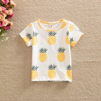 Wholesale Cheap Wholesale Summer Kids Clothes - Baby Clothes 2016 Summer Girls T shirt Kids Tops Cartoon Pineapple Pattern Kids T-shirts Boys Clothes Children T shirts Girls Tees Cheap