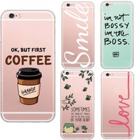 Wholesale-Luxury Brand Bove Sweety mots Coffee Love Amor doux Clear Cover Cristal Phone Case pour Apple iPhone5 5S 6 6S Coque Fundas