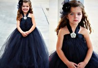 Wholesale Simple Flowergirl Dresses - Halter Crystals Pin Adorable Flower Girl Dresses Floor Length Black Simple Tulle Flowergirl Dresses Ruffles Puffy Gowns for Kids