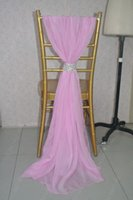 Wholesale Hot Pink Chair Covers - 2016 Custom Made Hot Pink Chiffon Chair Covers Romantic Beautiful Crystals Chair Sashes Cheap Wedding Chair Decorations 011