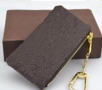 Wholesale Silk Pouches Zipper - NEW 4 color KEY POUCH Damier leather holds high quality famous classical designer women key holder coin purse small leather goods bag