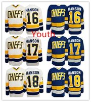 Wholesale Kids Boy Jacked - 2016 Hot 17 Steve HANSON Youth Charlestown CHIEFS Jerseys 16 Jack HANSON ICE Hockey Jersey Kids Boys 18 Jeff HANSON Jersey Mix Order