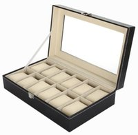 Wholesale Faux Leather Gift Boxes - Luxury Brand Watch Display Box Faux Leather 12 Grid Case Jewelry Storage Organizer Gift Black Jewelry boxes, watch display box
