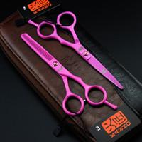 Wholesale Shears Pink - 730# 5.5# 16cm Kasho Pink TOP GRADE Hairdressing Scissors 440C White Red Color Barber Cutting Scissors Thinning Shears Hair Scissors