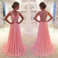 Wholesale Chiffon Pageant Dresses Girls - Pink Sheer Back Sexy Prom Dresses Illusion Lace Strap Adult Girls Special Occassion Birthday Gown Custom Made Chiffon Ruffles Pageant Dress
