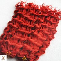 Wholesale Cheap Remy Hair Red - 7A Brazilian Red Deep Wave With Closure 1 bundles Hair Weave With 1 Lace Closure Cheap Brazilian Virgin Human Remy Hair Weave