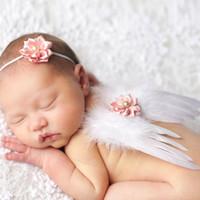 ingrosso nastro di angeli del bambino-Baby Angel Wing + Nastro fascia per capelli Fotografia Puntelli Set neonato Piuttosto Angelo Fata Rosa piume Ala Costume Foto Prop