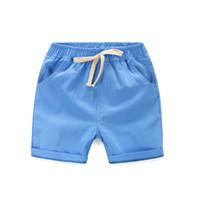 Wholesale Children Boy Pants Pocket - High Qualitiy cotton linen Casual Kids Boys Shorts Elastic Waist Solid Color Drawstring Short Pants Summer Children Shorts 5color and 5size