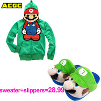 Wholesale Super Cute Coats - Wholesale-Unisex Cute Super Mario Bro Cosplay Costume and Plush Slippers 2pcs set Hoodie Stylish Outwear Warm Funny Jacket lovers Coat