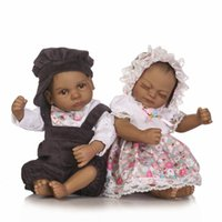 Wholesale American Girl Doll Body - 12 inch African American Baby Doll Black girl doll Full Silicone Body Bebe Reborn Baby Dolls children gifts kids toys play house toys