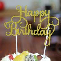 banner de tarjetas al por mayor-Glitter Happy Birthday Flag Cake Topper Decoración Party Favors Sticker Decor Tarjeta de Cumpleaños Pastel de Accesorios de G1036