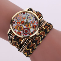 Unisex black decorative chain - 2016 long strap women leather bracelet watch flower Decorative pattern weave rope chain rivets fashion ladies dress quartz watch