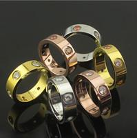 ingrosso jewlery 14k-Bianco / multicolore strass in acciaio inox anelli, oro 18 carati placcato oro rosa placcato platino donne / uomini moda matrimonio gioielli