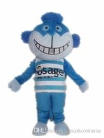 Wholesale Big Cats Mascot - SX0723 Light and easy to wear a blue cat mascot costume with a big mouth for adult to wear