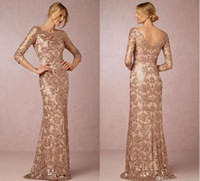 Wholesale Silver Sequined Evening Wear - Long Sleeve Rose Gold Mother of the Bride Dresses 2016 Bateau Neck Plus Size Vintage Lace Sweep Train Formal Evening Party Wear BA0528