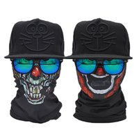 Atacado - 2 Pcs Clown Face Shield Tube Skull Bandana Scarf