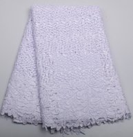 Wholesale Colored Cheap Wedding Dresses - Cheap Price African Cord Lace French lace fabric High quality African lace fabric for White Polyester wedding dress XZ202B-5