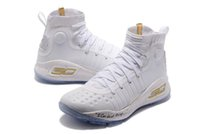 Wholesale kids basketball shoes sale - Curry 4 kids birthday for sale high quality Stephen Curry 4 Triple White Basketball shoes wholesale price store US4-US12