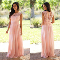 Wholesale Cheap Purple Bridesmaids Long Dresses - 2016 New Arrival Light Sky Pink Bridesmaid Dresses Cheap Jewel Neckline Chiffon Floor Length Lace Long Bridesmaid Dresses for Wedding