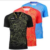 yeni kıyafetler badminton li ning toptan satış-Yeni Li-Ning erkekler badminton gömlek giymek giysi Rio Olimpiyatları, polyeater nefes masa tenisi spor forması ve şort nem emme