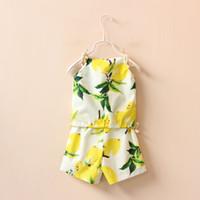 Wholesale Fruit Flowers Yellow - Children's Girls Summer Baby Lemon flower printed Sling sun-top Vest Shirt+ Shorts Clothing Set Princess Fruit Clothes suits