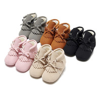 Wholesale soft soled toddler boots online - Infant Moccasins Winter Boots Tassels Warm Soft Sole Anti slip Baby Shoes Infant Toddler Walking Shoes Months