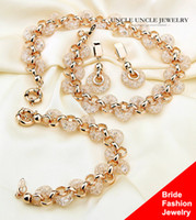 Bride Jewelry Set Gold-color Austrian Zirconia Crystal Inside Nets Design casamento colar / pulseira / brinco atacado