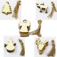 Wholesale Cartoon Chips - 2017 10 pieces Lot Christmas Tree Ornaments Wood Chip Snowman Tree Deer Socks Hanging Pendant Christmas Decoration Xmas Gift Crafts