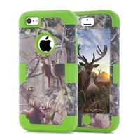 Wholesale Iphone 5c Silicone - Camouflage Tree Branch Design 3 in 1 Silicone Hybrid Anti-knock shock Combo Phone Case Cover For iPhone 5c With Film+Stylus Pen