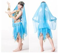 Wholesale Indian Dance Costumes For Kids - Indian Dress for Kids Children's Day Dancewear Chiffon Coins Skirt Clothes Indian Clothing Sari Indian Child Costume
