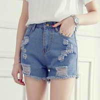 Женские сексуальные короткие джинсы 2017 Новый Ripped Blue Solid Skinny Skinny High Waist Hole Femininos Slim Leg Denim Shorts