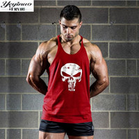 Wholesale Khaki Vest Wholesale - Wholesale- Fitness Tank Top Men Bodybuilding 2017 Clothing Fitness Men Shirt Crossfit Vests Cotton Singlets Muscle Top Punisher skull print